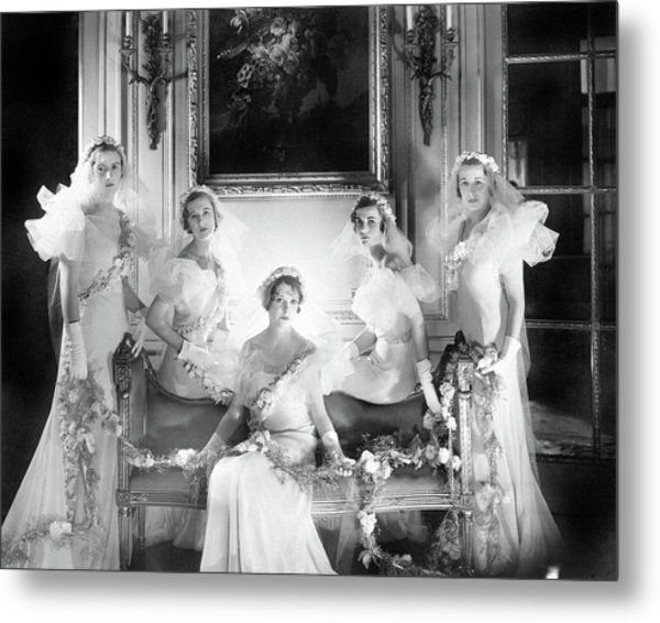 Bridesmaids For The Wedding Of Sir Hugh Houston Metal Print by Cecil Beaton