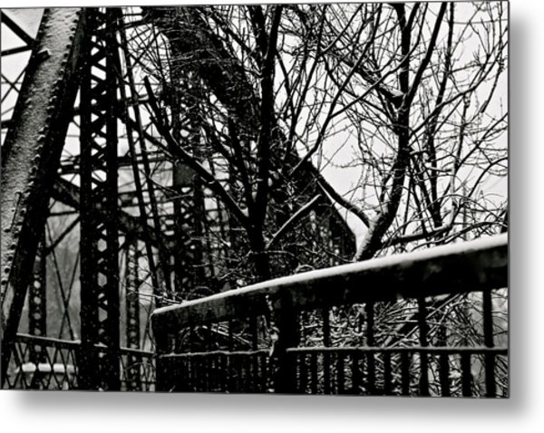 Bridge At Snowfall Metal Print