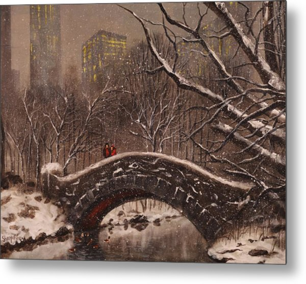 Bridge In Central Park Metal Print by Tom Shropshire