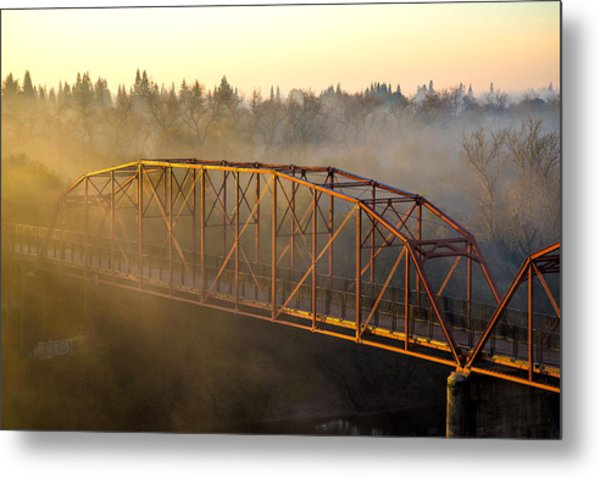 Bridge In Fog  Metal Print