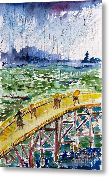 Bridge In The Rain After Van Gogh After Hiroshige Metal Print