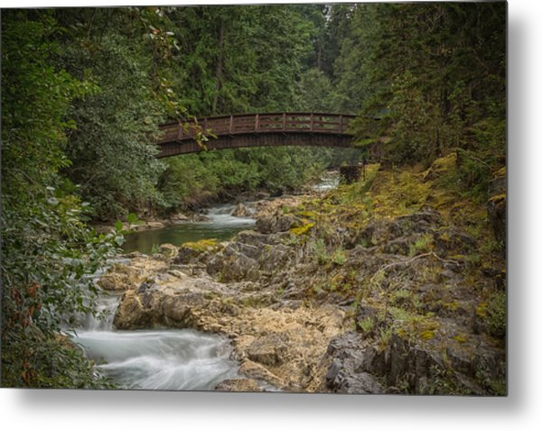 Bridge In The Woods Metal Print