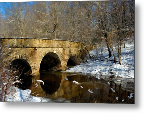 Bridge In Woods Metal Print