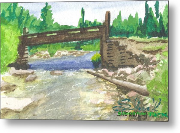 Bridge On The Red Cloud Loop Metal Print