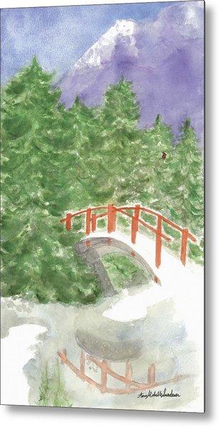 Bridge Over Frozen Water Metal Print