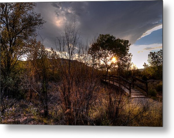 Bridge To Sunset Metal Print