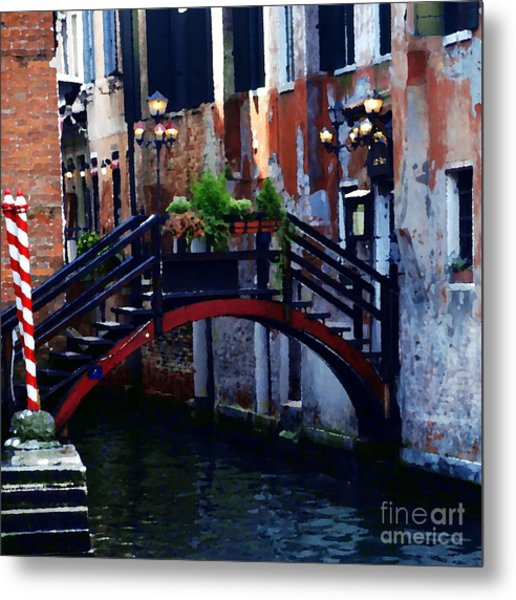 Abstract - Bridge With Flowerbox Metal Print by Jacqueline M Lewis