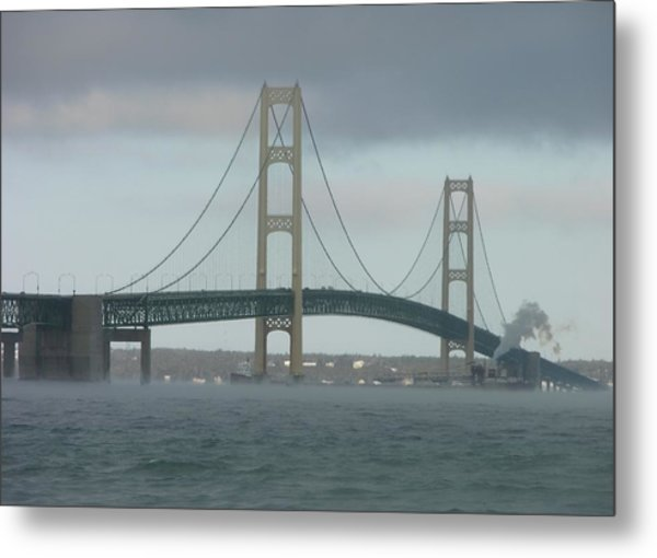 Bridge With Haze Metal Print