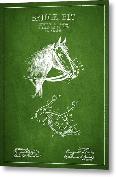 Bridle Bit Patent From 1897 - Green Metal Print