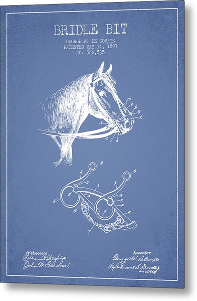 Bridle Bit Patent From 1897 - Light Blue Metal Print