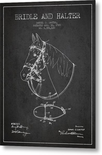 Bridle Halter Patent From 1920 - Charcoal Metal Print