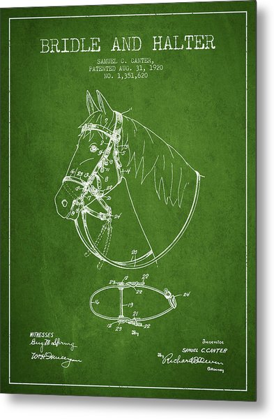 Bridle Halter Patent From 1920 - Green Metal Print