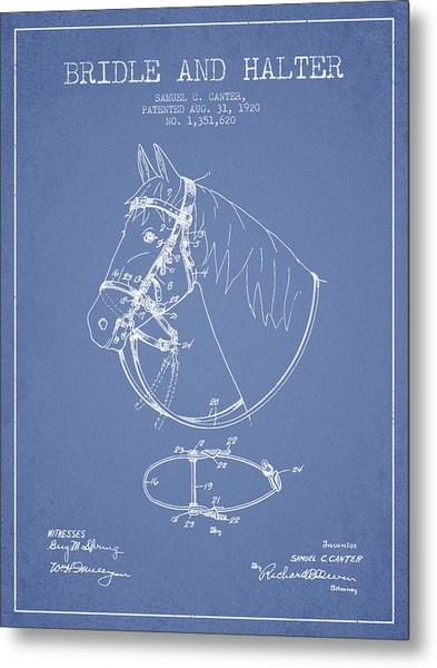 Bridle Halter Patent From 1920 - Light Blue Metal Print