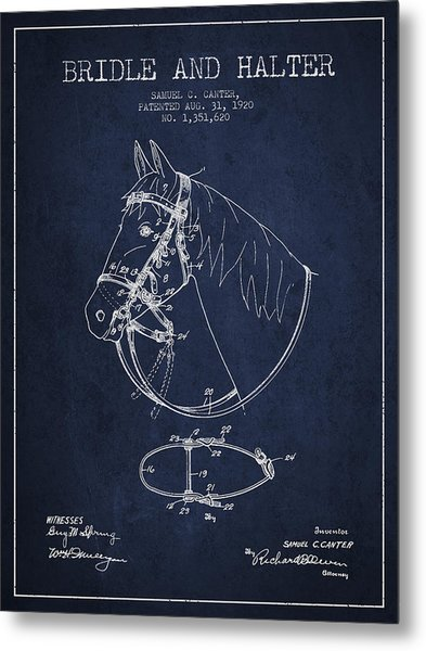 Bridle Halter Patent From 1920 - Navy Blue Metal Print