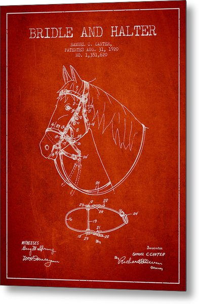 Bridle Halter Patent From 1920 - Red Metal Print