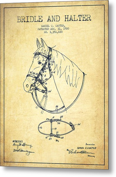 Bridle Halter Patent From 1920 - Vintage Metal Print