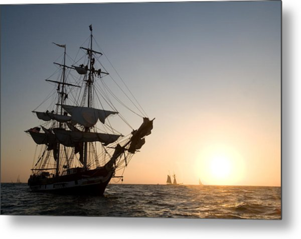 Brig Pilgrim At Sunset Metal Print