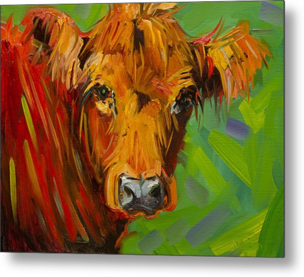 Bright And Beautiful Cow Metal Print