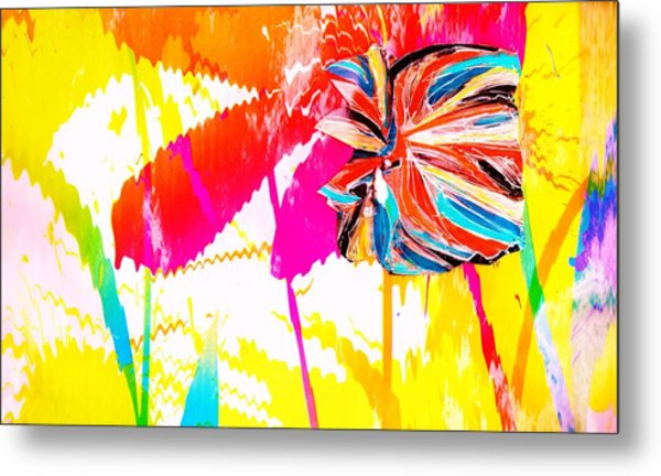 Bright Floral  Collage Metal Print by Anne-Elizabeth Whiteway