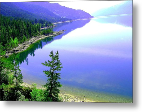 Bright Kootenay Lake Metal Print by Mavis Reid Nugent