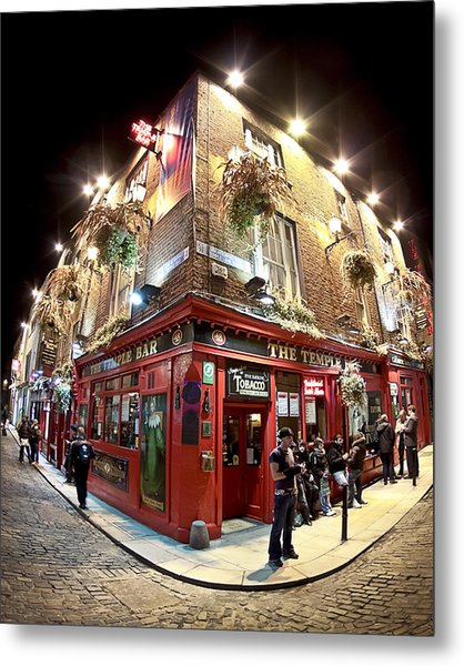 Bright Lights Of Temple Bar In Dublin Ireland Metal Print