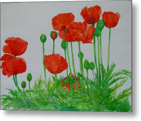 Red Poppies Colorful Flowers Original Art Painting Floral Garden Decor Artist K Joann Russell Metal Print
