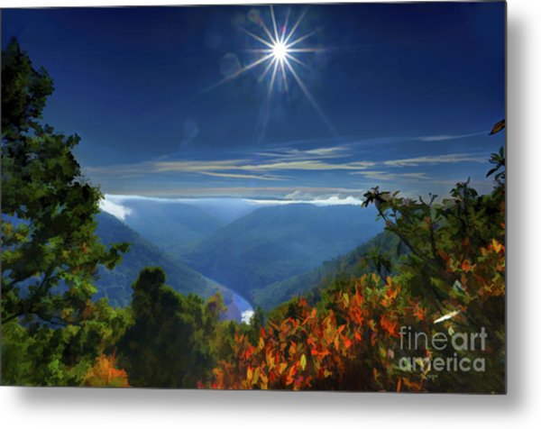 Bright Sun In Morning Cheat River Gorge Metal Print