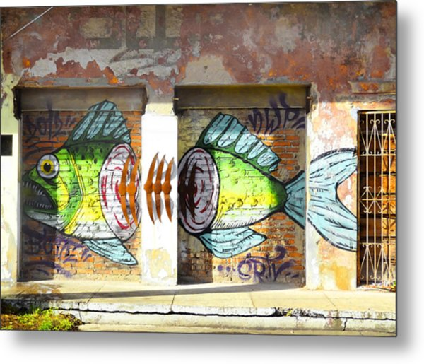 Brightly Colored Fish Mural Metal Print