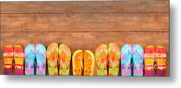 Brightly Colored Flip-flops On Wood  Metal Print