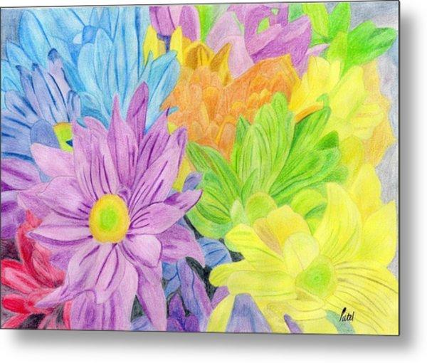 Brightly Coloured Flowers Metal Print by Bav Patel