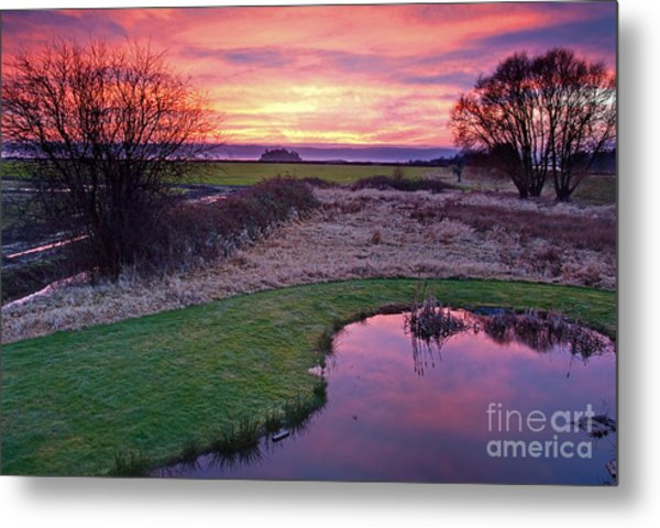 Brilliant Sunset With Pond Landscape Metal Print