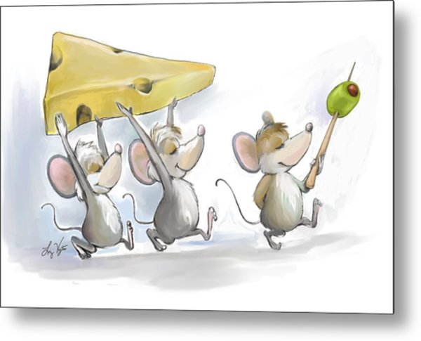 Bringing In The Cheese With Olives Metal Print