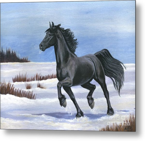 Metal Print featuring the painting Brisk Trot by Sheri Gordon