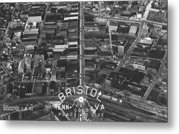Bristol Virginia Tennessee Early Aerial Photo Metal Print