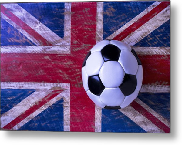 British Flag And Soccer Ball Metal Print