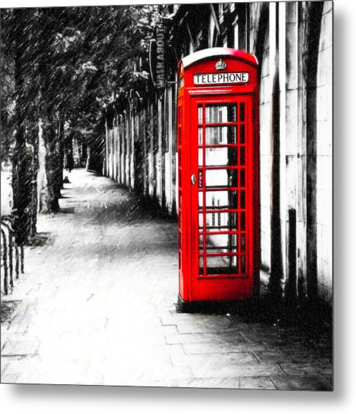 British Red Telephone Box From London Metal Print