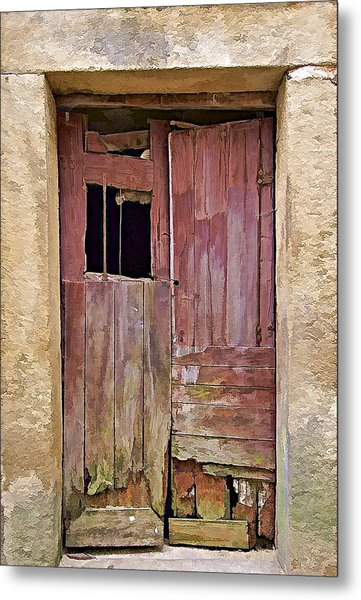 Broken Red Wood Door Metal Print