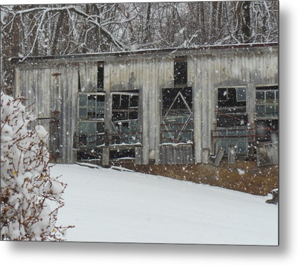 Broken Windows In The Snow Metal Print by Sharon Costa
