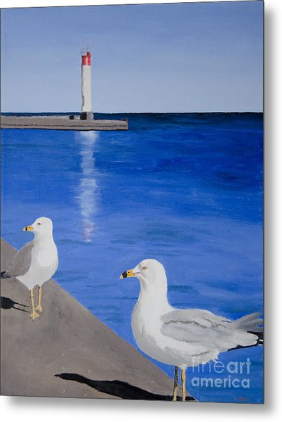 Bronte Lighthouse Gulls In Oil Metal Print