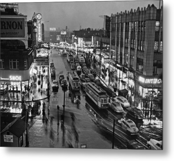 Bronx Fordham Road At Night Metal Print