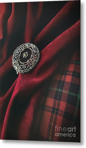 Brooch With Red Velvet And Green Plaid Metal Print