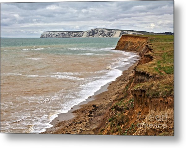Brook Bay And Chalk Cliffs Metal Print