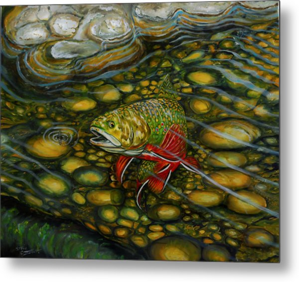 Metal Print featuring the painting Brook Trout by Steve Ozment
