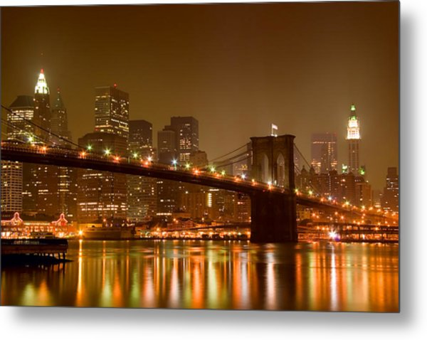 Brooklyn Bridge And Downtown Manhattan Metal Print