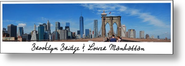Brooklyn Bridge And Lower Manhattan Script Metal Print
