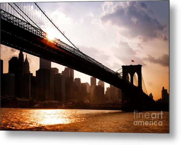 Brooklyn Bridge And Skyline Manhattan New York City Metal Print