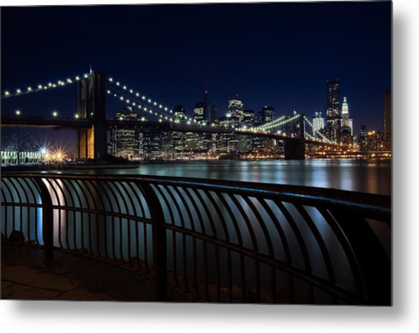 Brooklyn Bridge At Night Metal Print