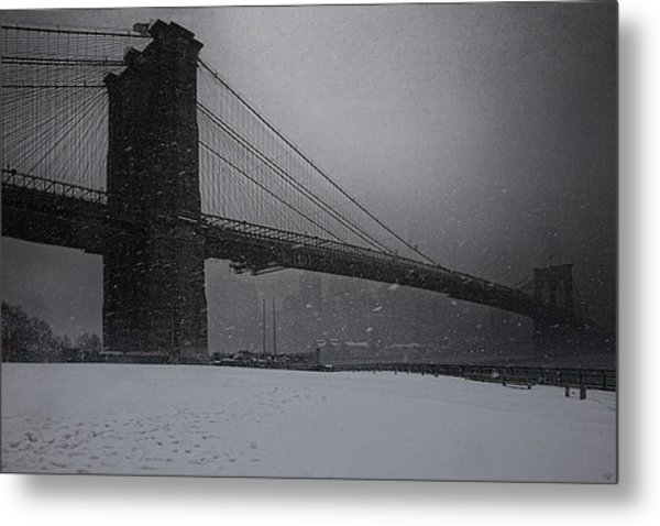 Brooklyn Bridge Blizzard Metal Print