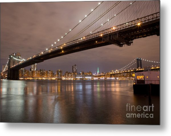 Brooklyn Bridge Lights Metal Print