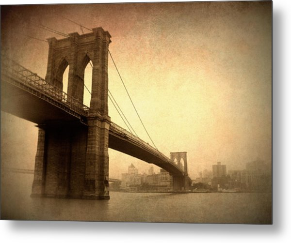 Brooklyn Bridge Nostalgia II Metal Print